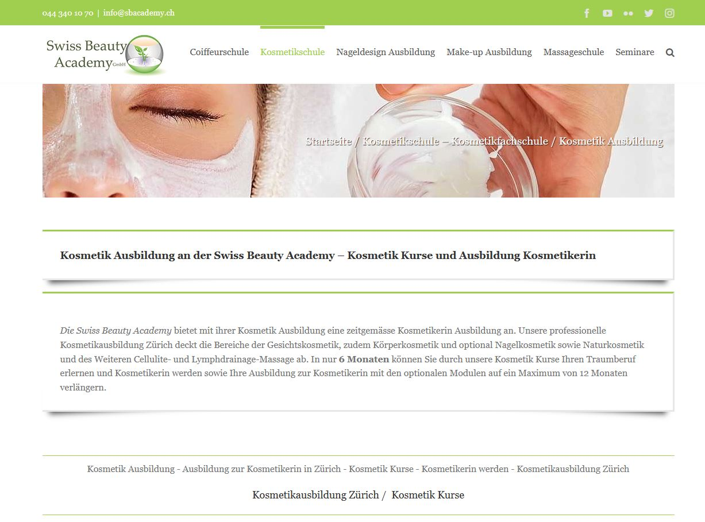 Beispiel privates Kosmetikinstitut: Swiss Beauty Academy in Zürich