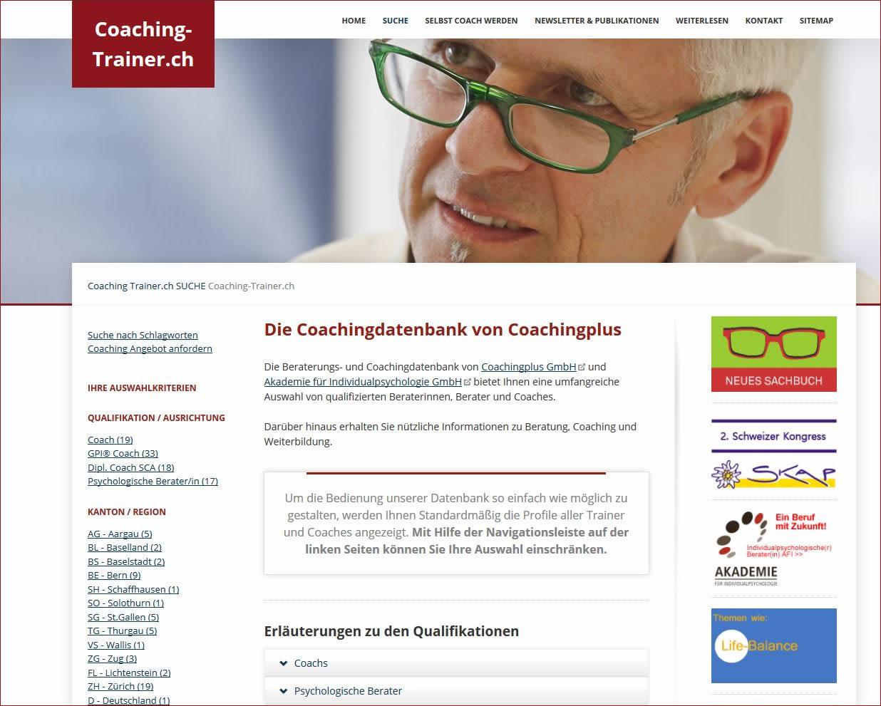 Coachingdatenbank mit ausgebildeten Coaches