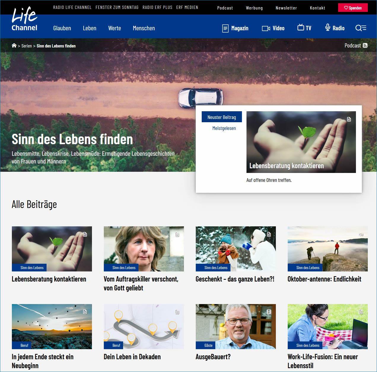Den Sinn des Lebens, Lebenssinn finden, weiterführende Beiträge auf Lifechannel.ch